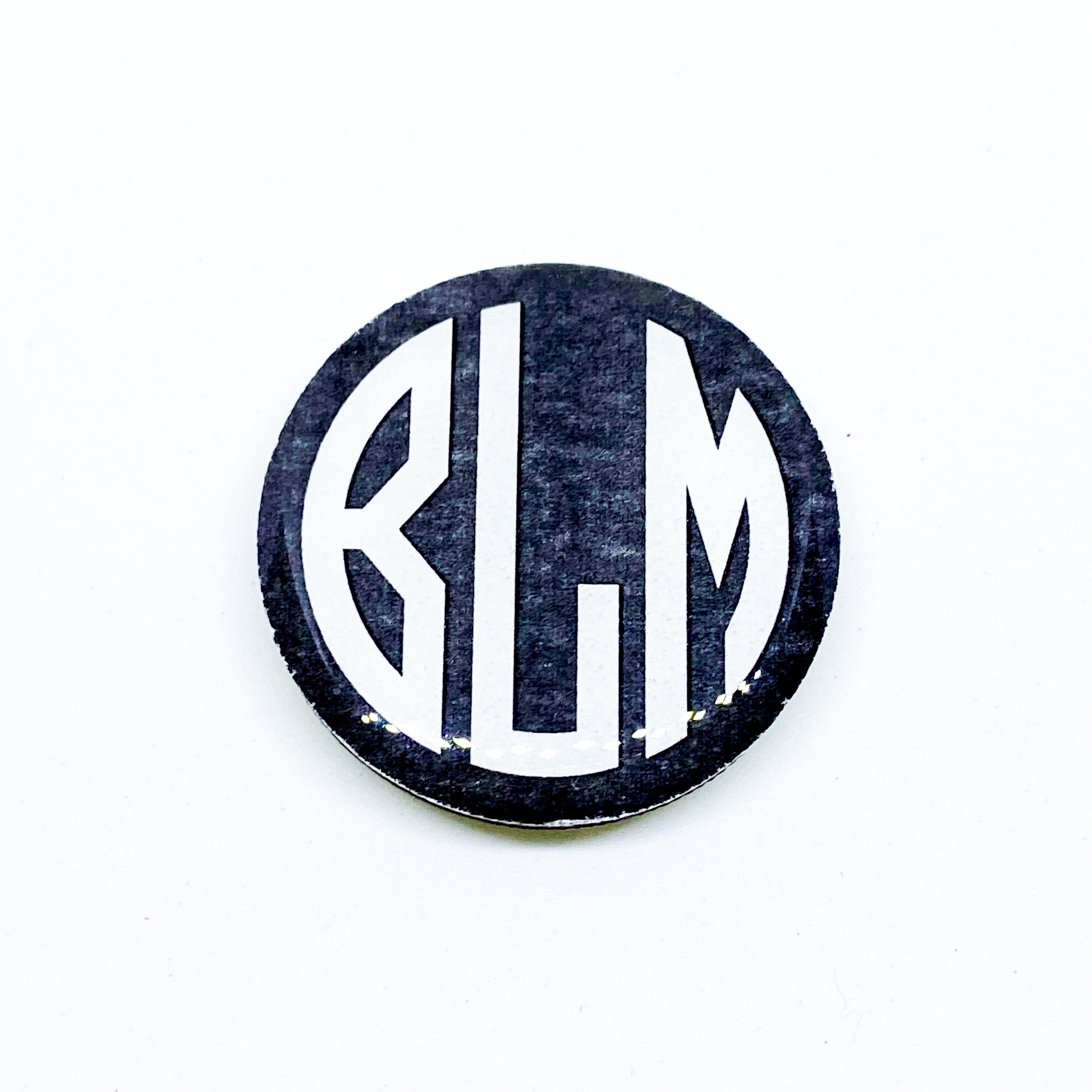 "BLM • BLACK LIVES MATTER • 1.5"" button on wood base"