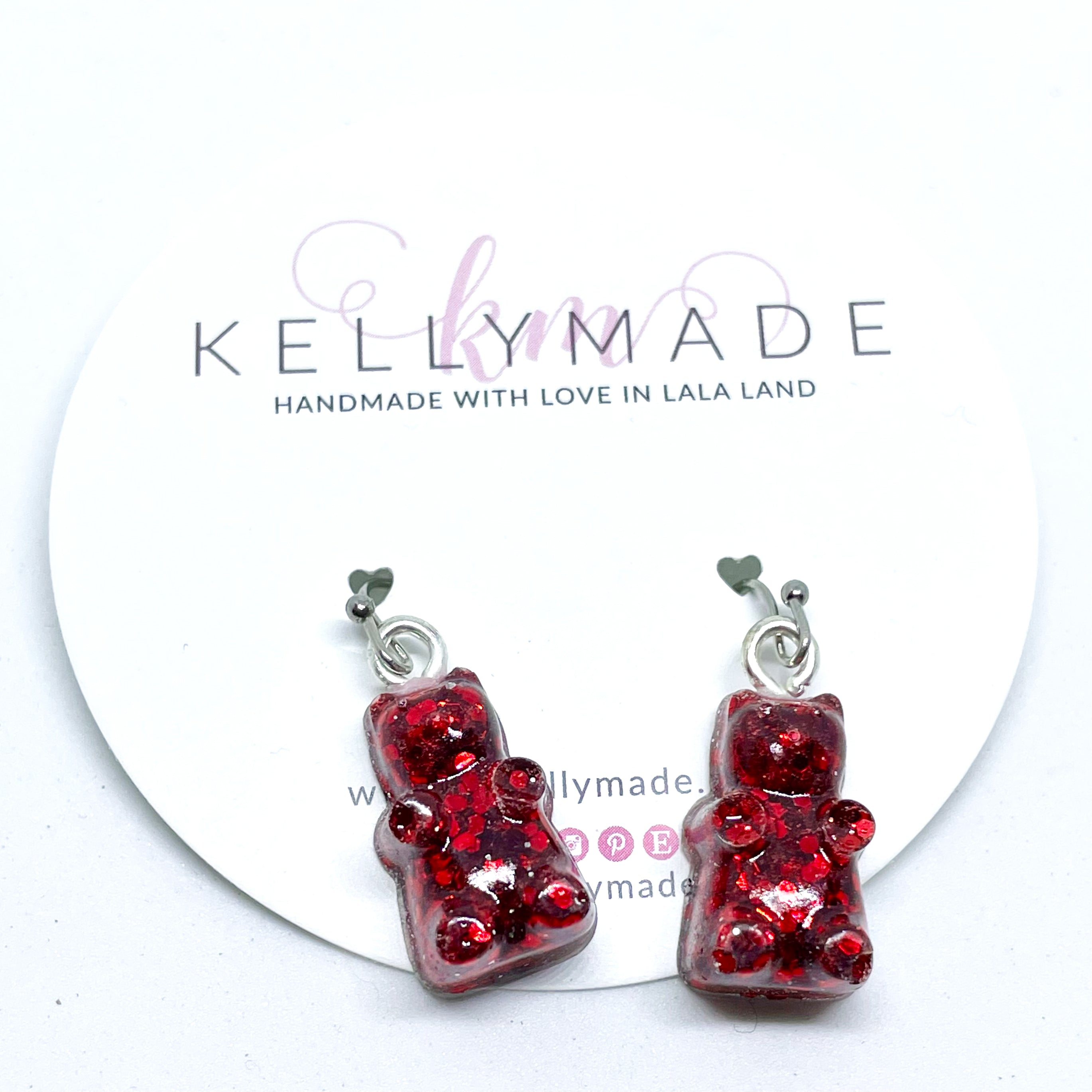 GUMMY BEARS Glittery Dangles - Ruby Red