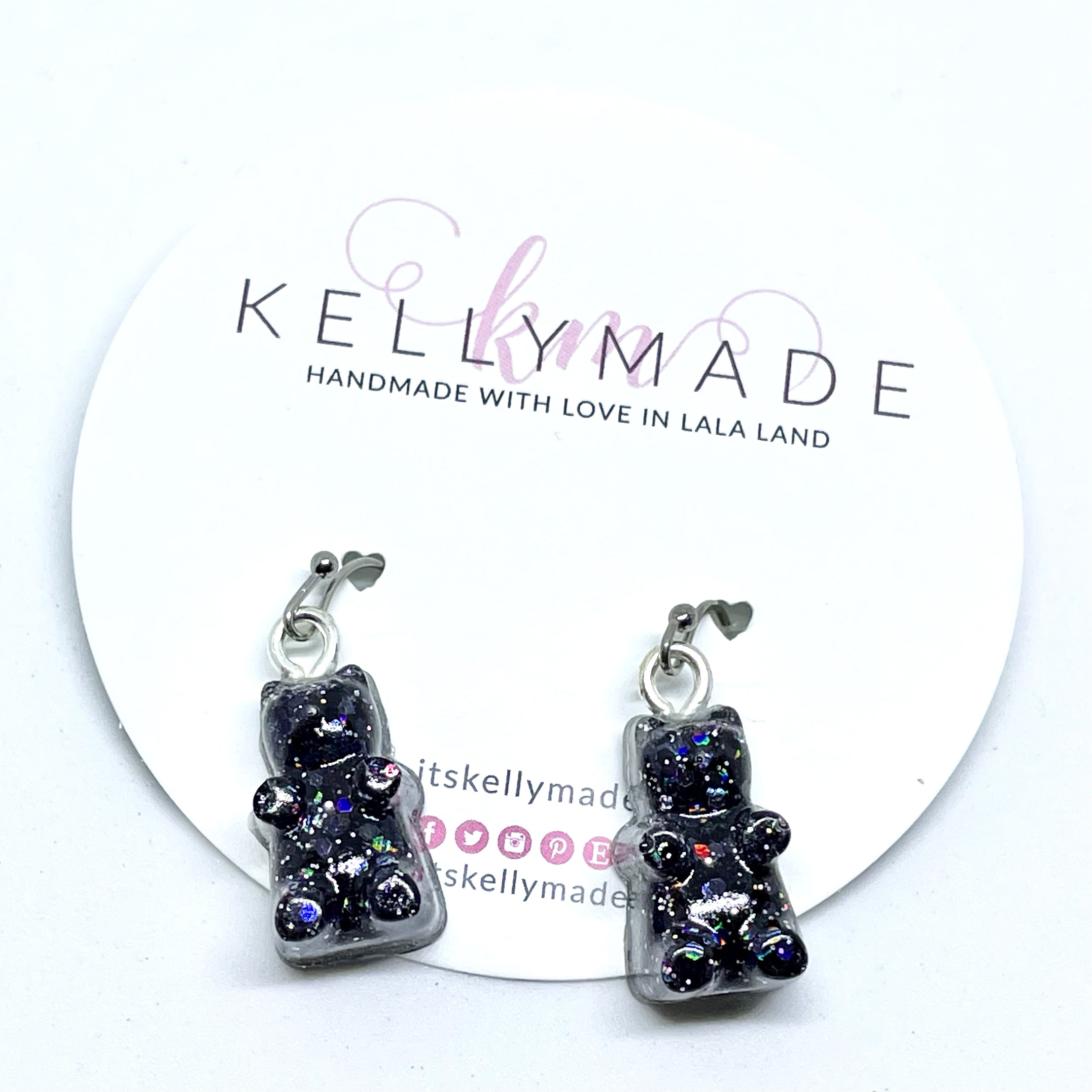 GUMMY BEARS Glittery Dangles - Black + Silver