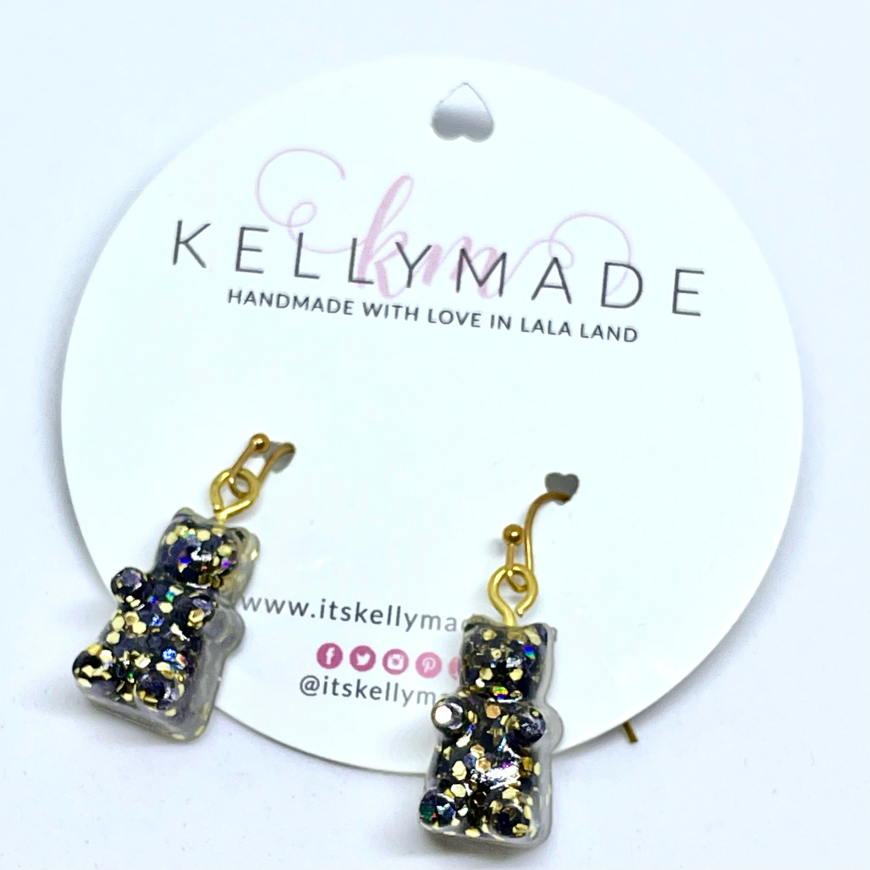 GUMMY BEARS Glittery Dangles - Black + Gold