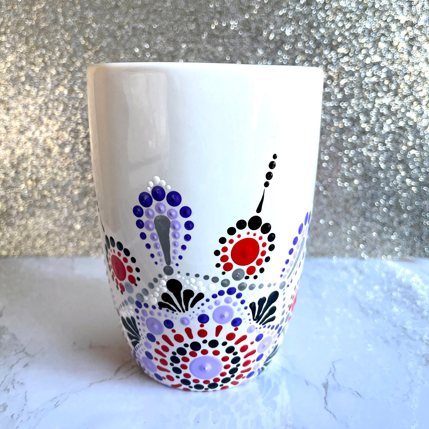 Hand painted Mandala 12 oz Mug - purple and red