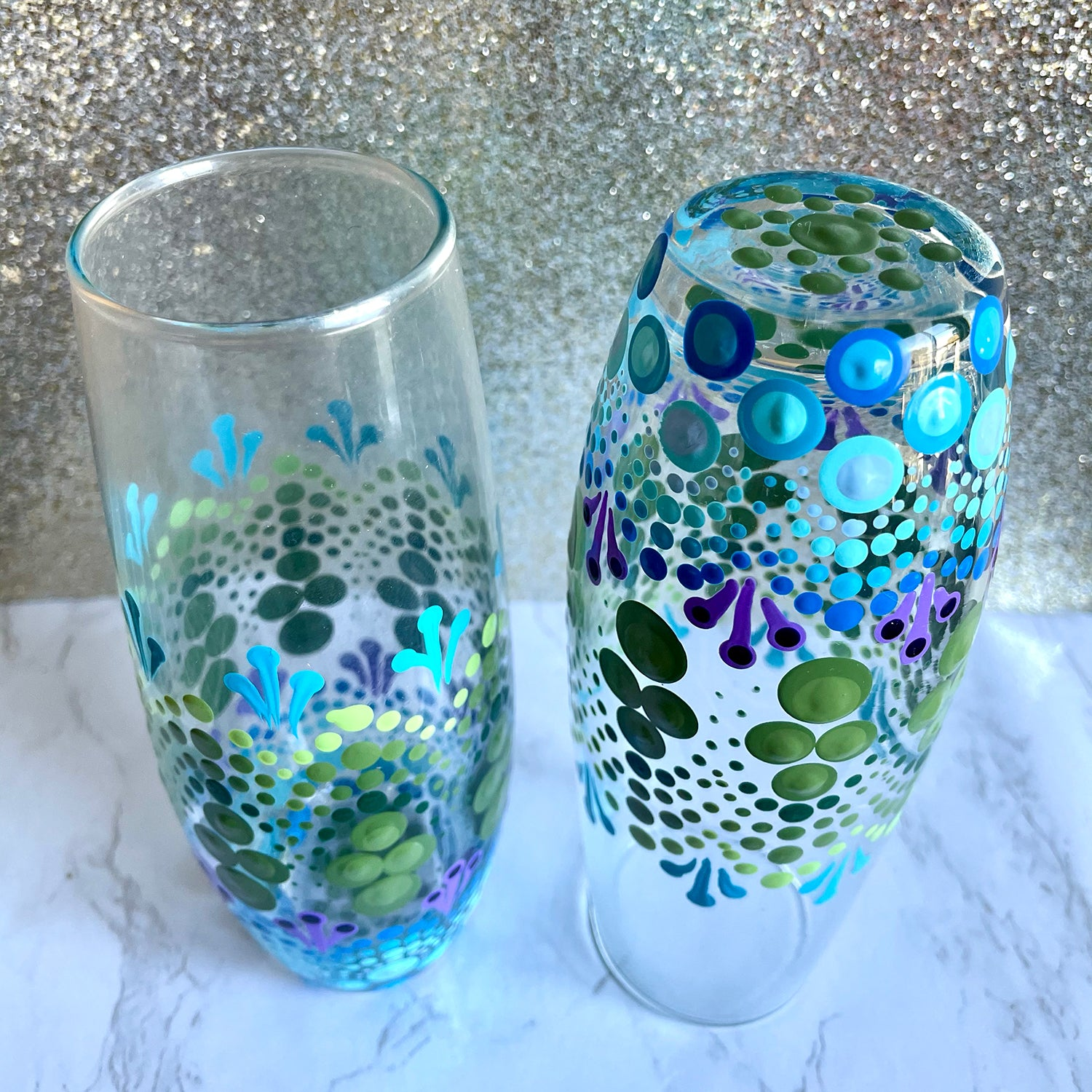 Hand painted Mandala Stemless Champagne Glasses - under the sea - set of 2