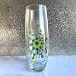 Hand painted Mandala Stemless Champagne Glass - green and silver