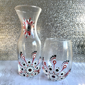 Hand painted Mandala Carafe Gift Set - burgundy and black