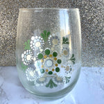 Hand painted Mandala Wine Glass - green and goldenrod