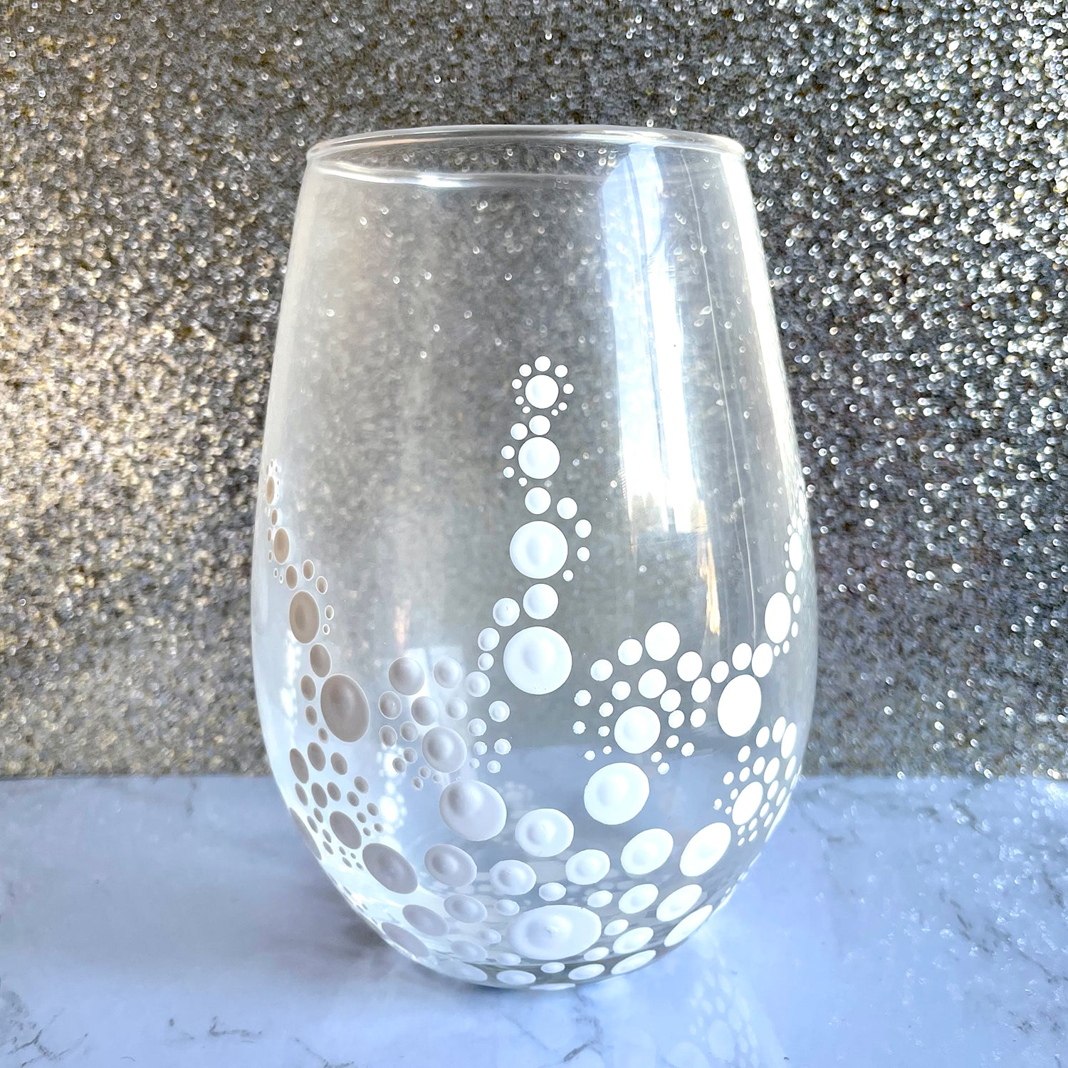 Hand painted Mandala Wine Glass - white