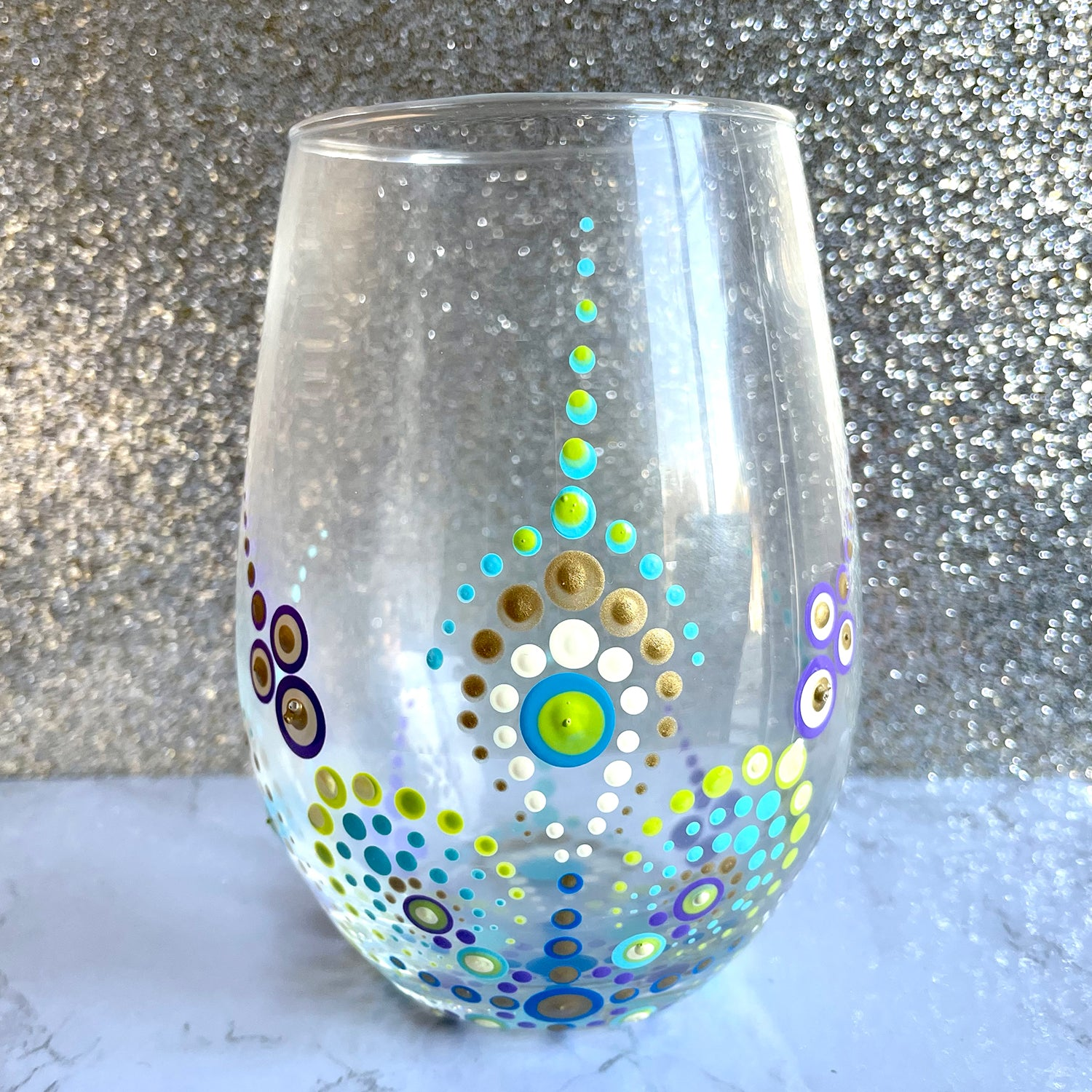 Hand painted Mandala Wine Glass - green and blue