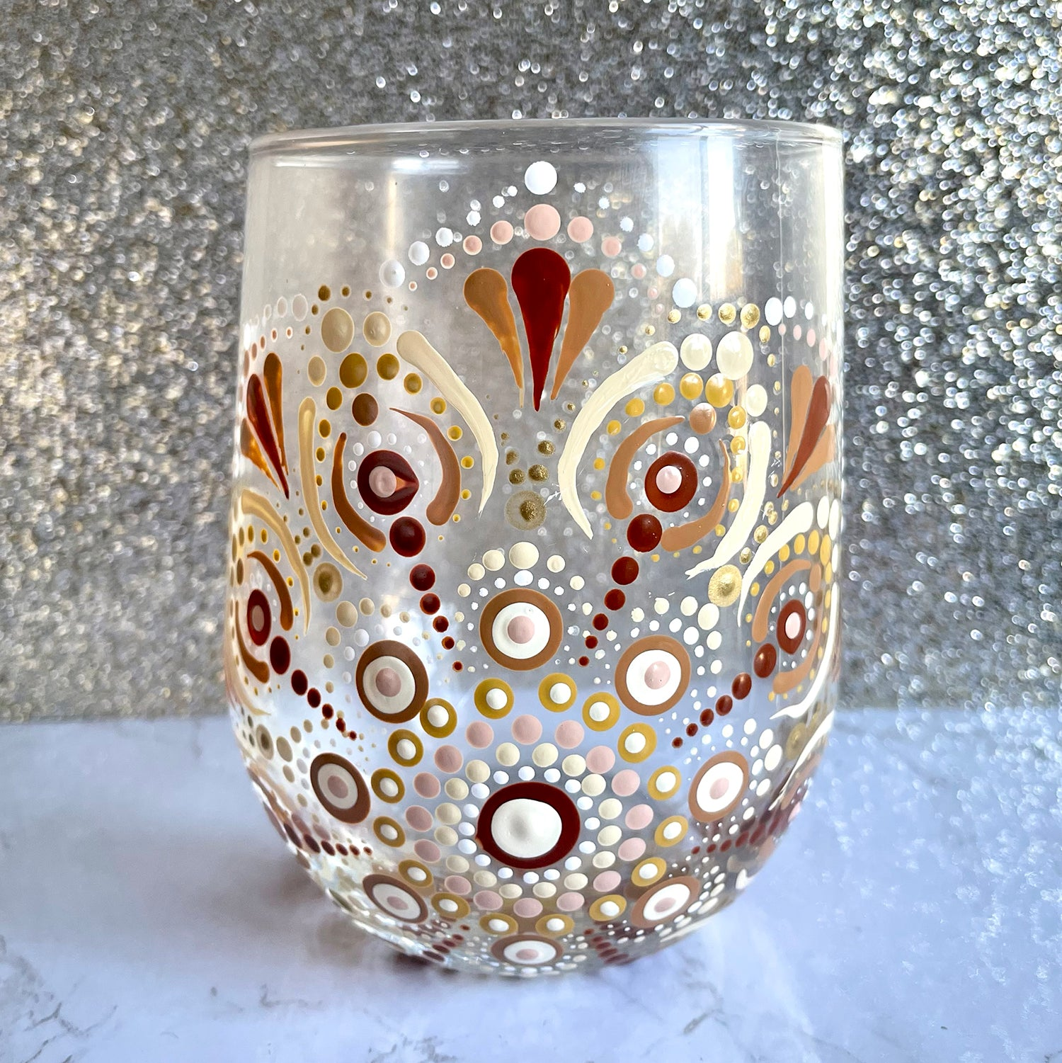 Hand painted Mandala Wine Glass - brown and peach