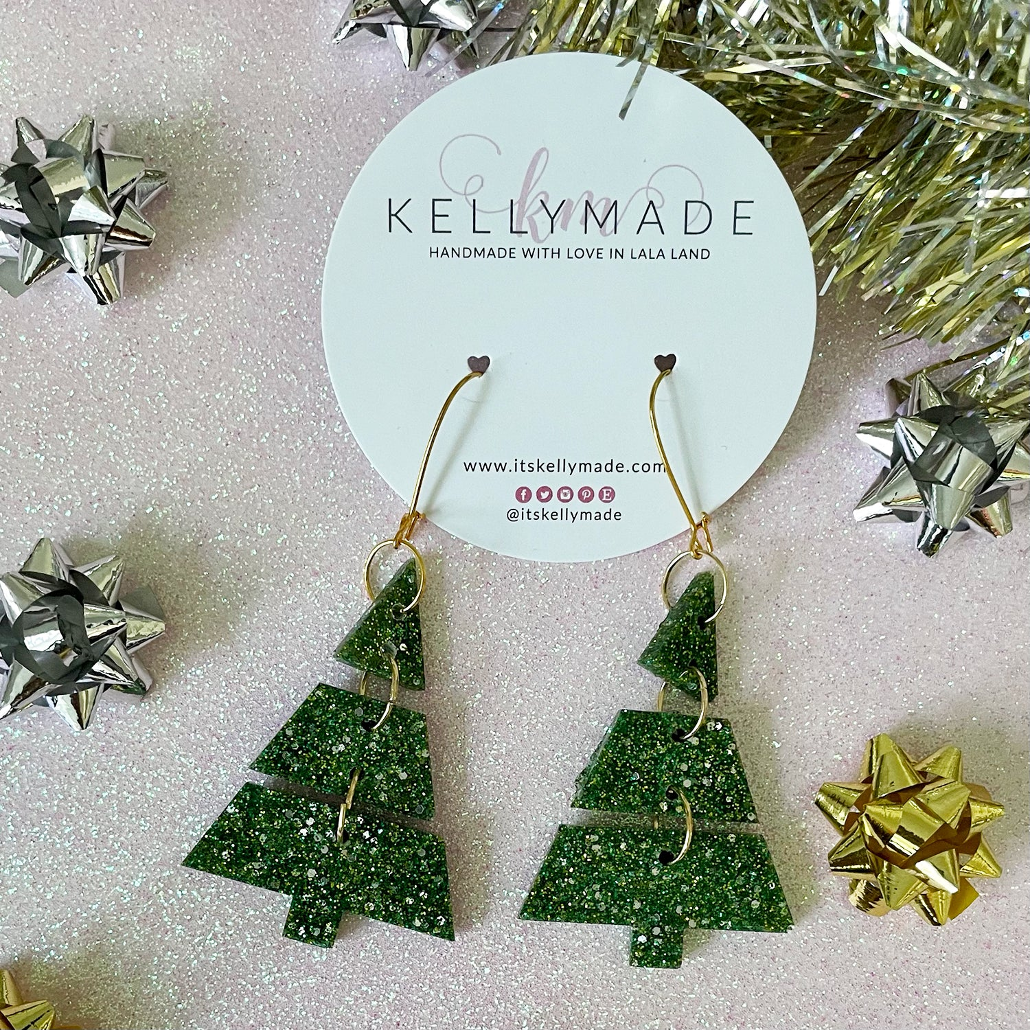 Triple Christmas Trees - Glitter Dangles - fine evergreen green