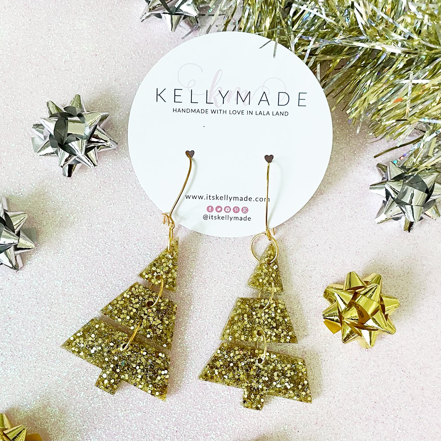 Triple Christmas Trees - Glitter Dangles - chunky gold