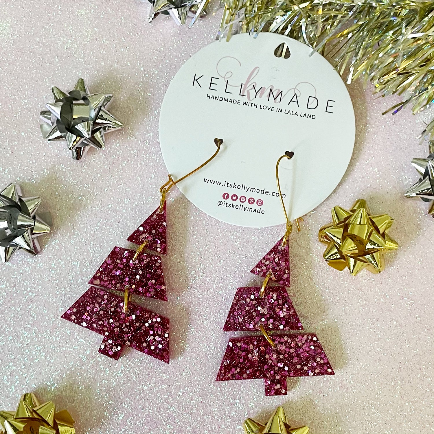 Triple Christmas Trees - Glitter Dangles - chunky pink