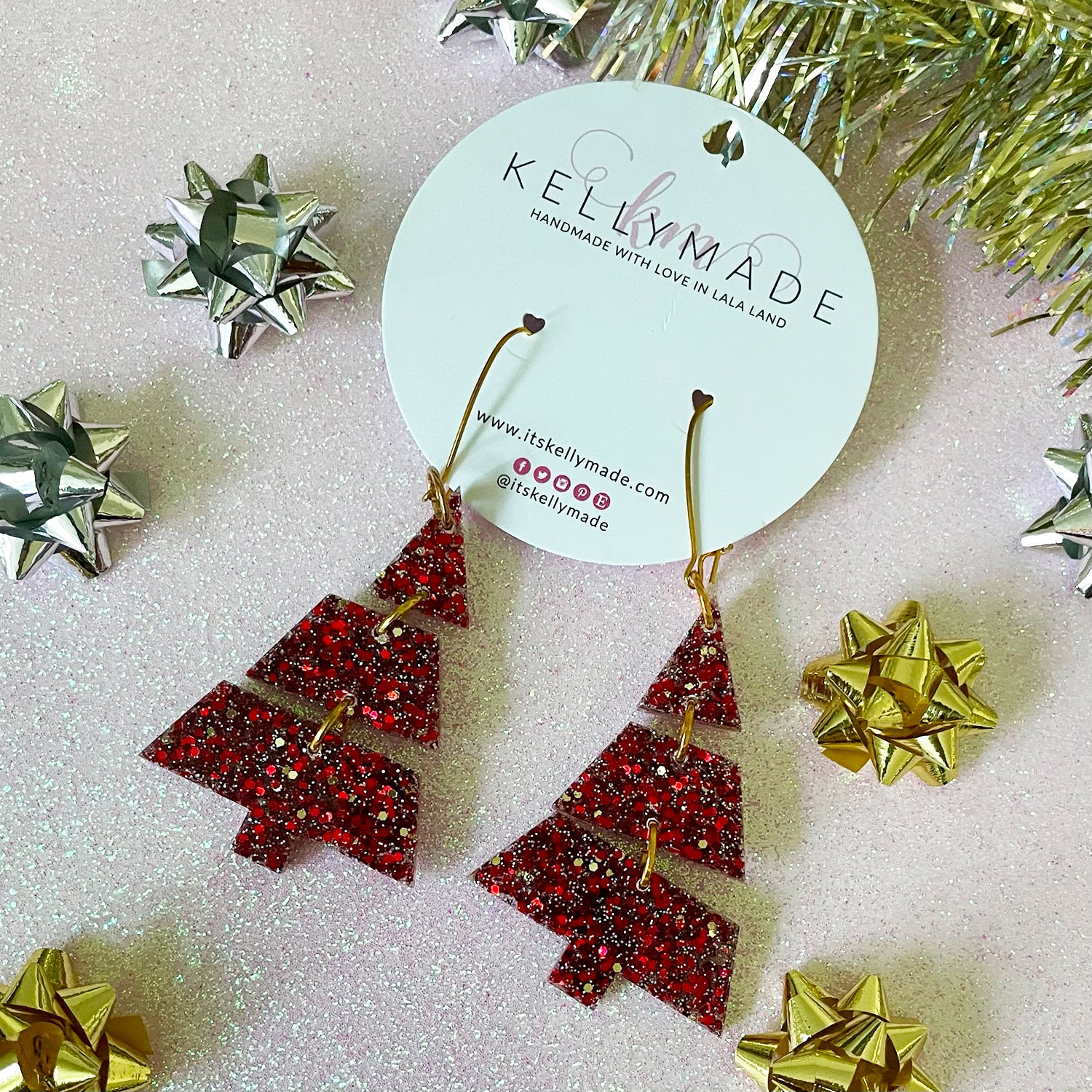 Triple Christmas Trees - Glitter Dangles - chunky red