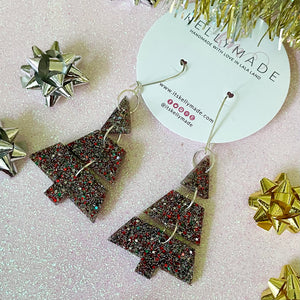 Triple Christmas Trees - Glitter Dangles - multicolor
