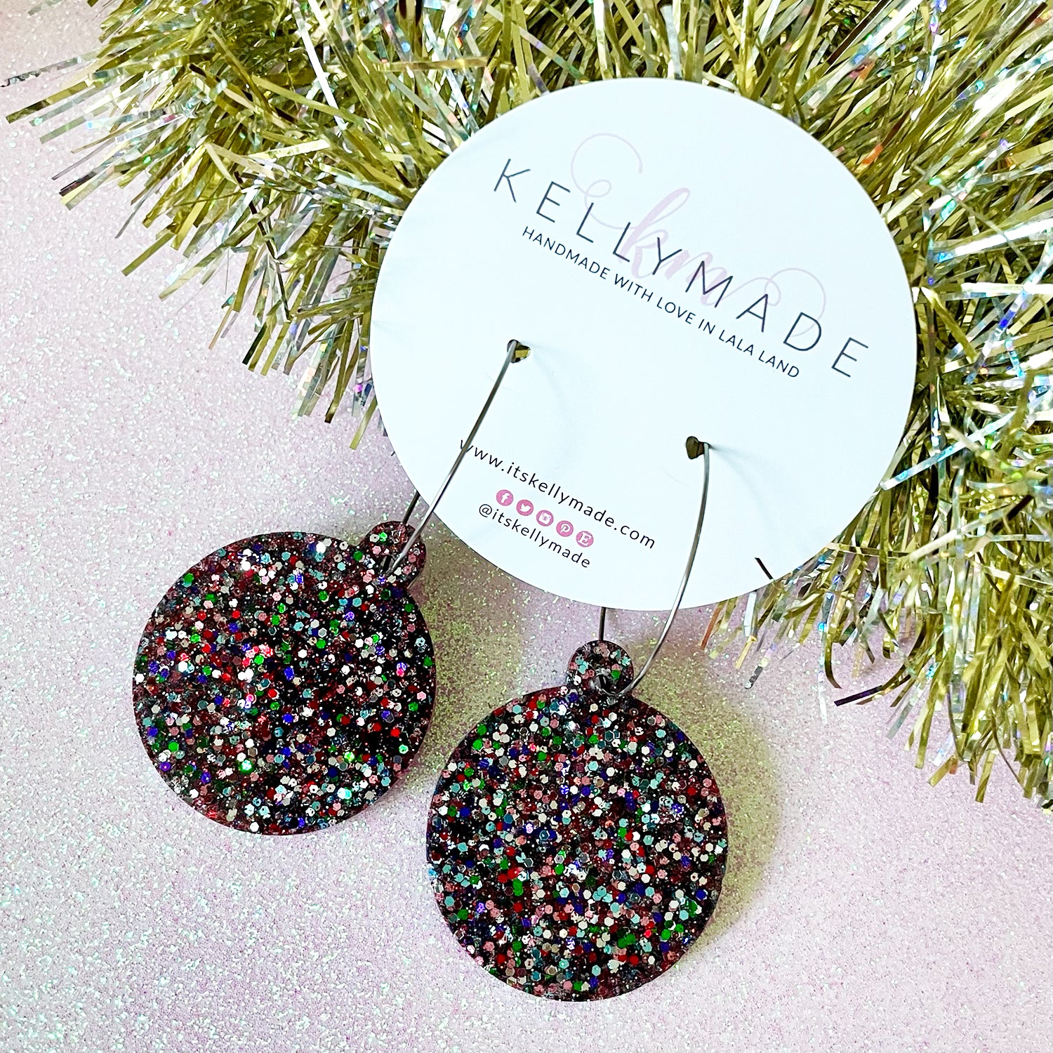 Christmas Ornament Hoops - chunky multicolor glitter