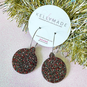 Christmas Ornament Hoops - multicolor glitter