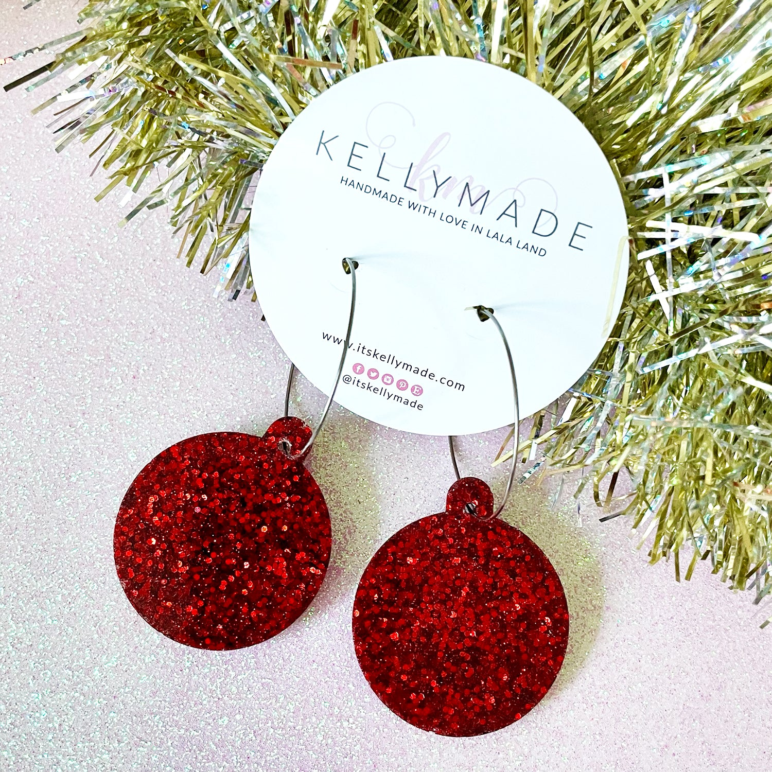Christmas Ornament Hoops - chunky red glitter