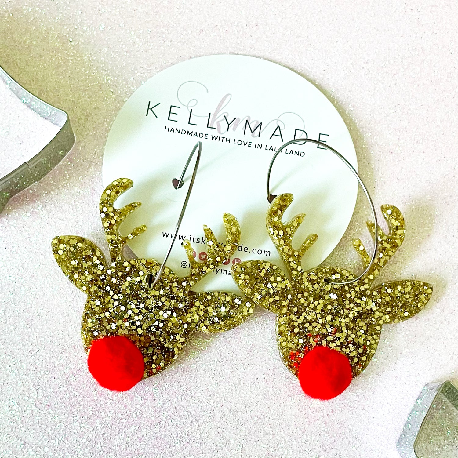 Rudolph the Red Nose Reindeer Sparkly Hoops - chunky gold glitter