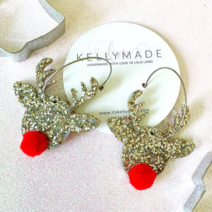 Rudolph the Red Nose Reindeer Sparkly Hoops - chunky champagne glitter