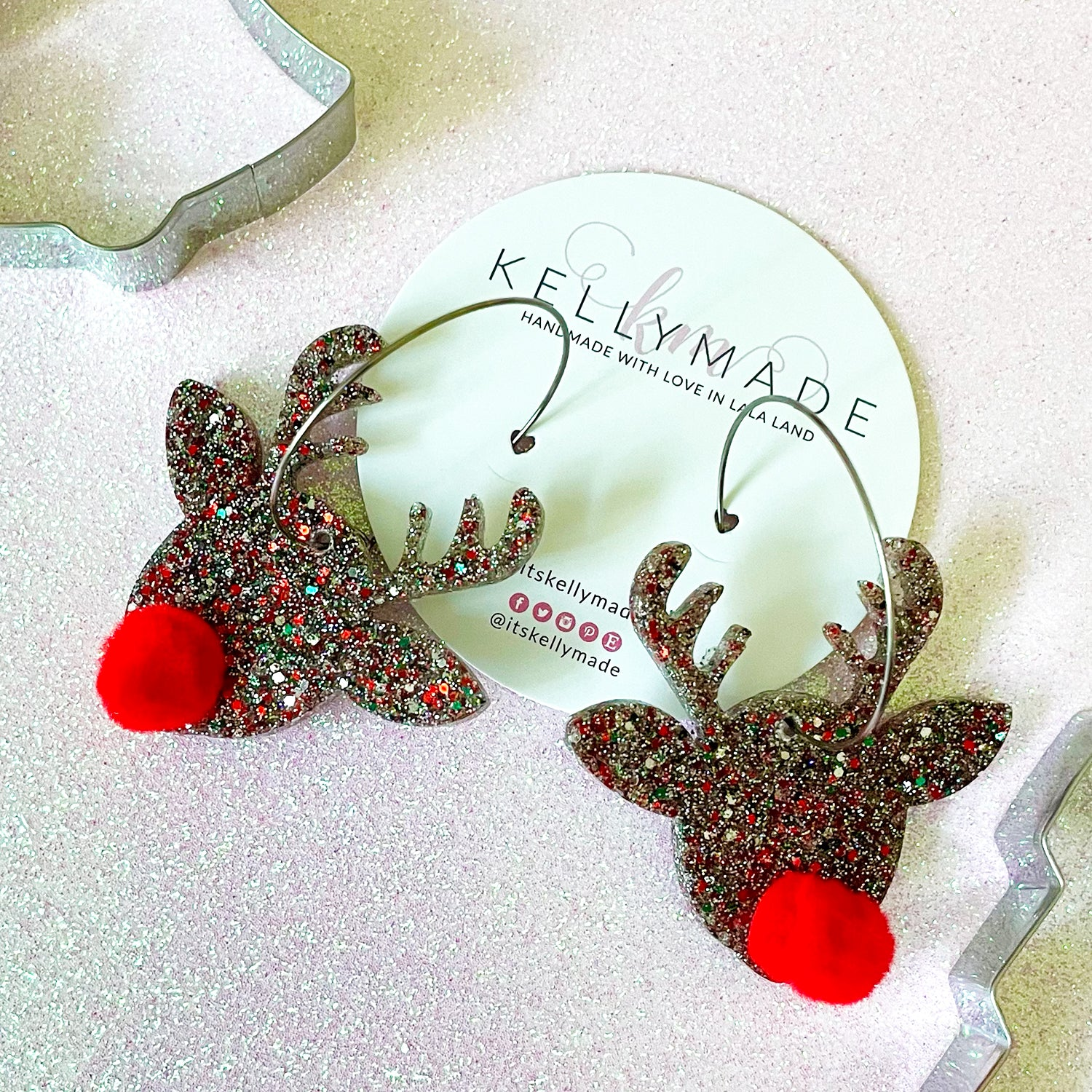Rudolph the Red Nose Reindeer Sparkly Hoops - multicolor glitter