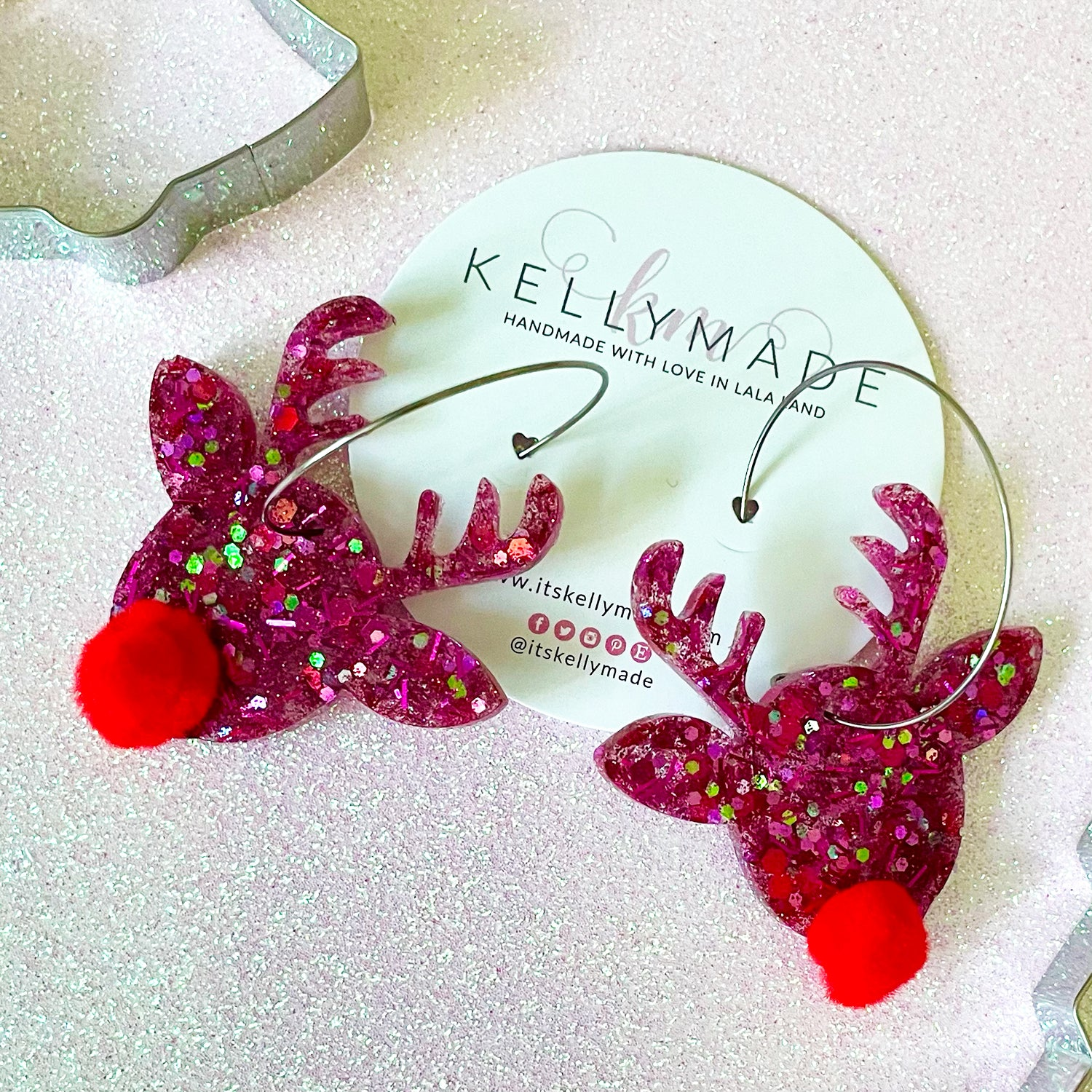 Rudolph the Red Nose Reindeer Sparkly Hoops - chunky pink glitter