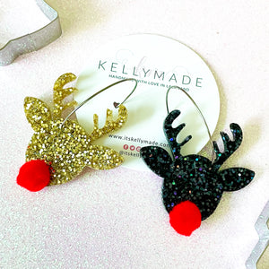 Rudolph the Red Nose Reindeer Sparkly Hoops - chunky gold and black glitter