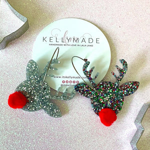 Rudolph the Red Nose Reindeer Sparkly Hoops - chunky silver and multicolor glitter