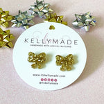 Sparkly Christmas Bow Studs