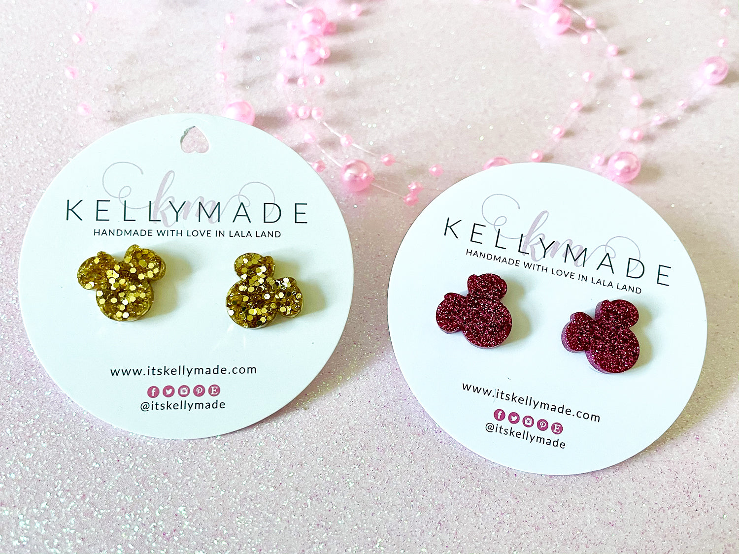 CUTE LITTLE MINNIE STUDS - gold or silver or black or pink