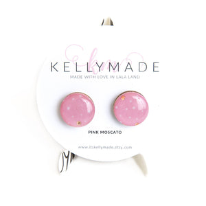 PINK MOSCATO • Multi-colored Glitter Resin & Wood Stud Earrings