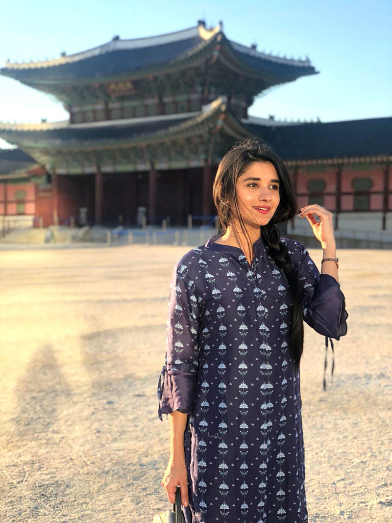 Kanika Mann in Twilight Blue Bell Sleeves Kurta Set