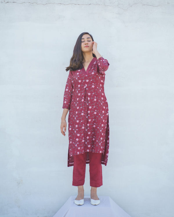 Pure Chanderi Printed Red Kurta Set Online | Alokik by Divya