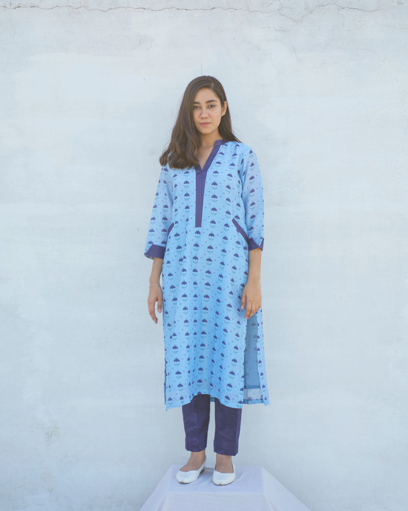 Pure Chanderi Printed Straight Kurta Set | Alokik by Divya