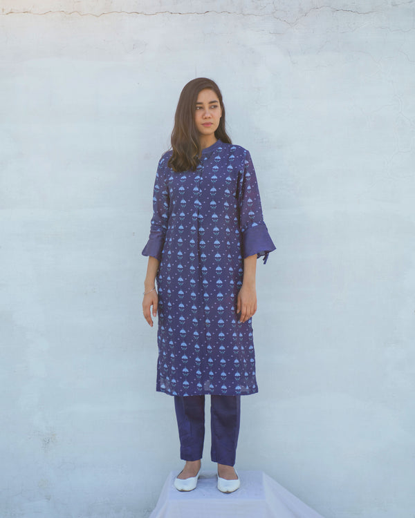 Pure Chanderi Printed Twilight Blue Kurta Set