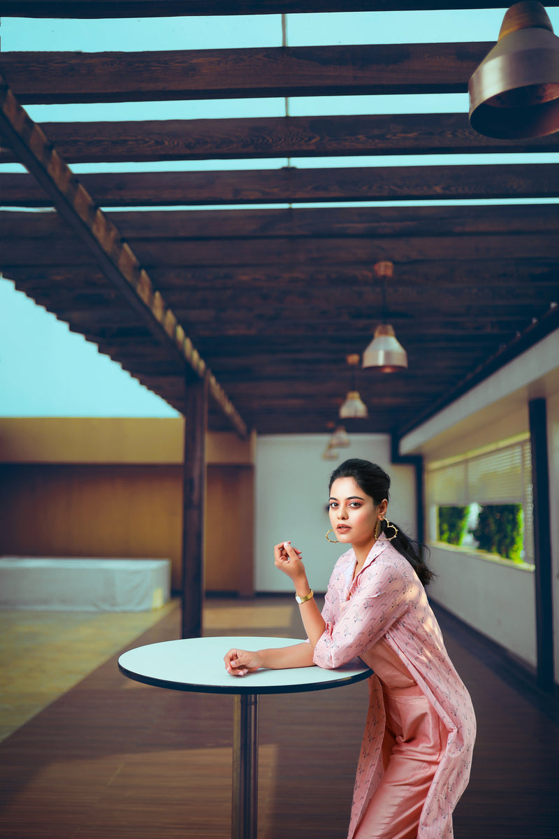 Bindu Madhvi in Rose Pink Overlay Kurta Set