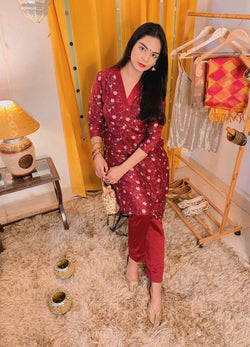 Beet Red Kurta Set with Inverted Box Pleat