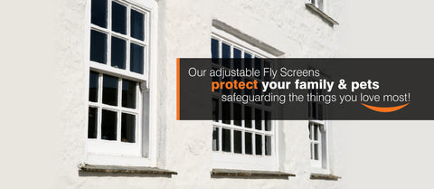 Sash window adjustable fly screen