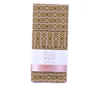 3 Pack - Beeswax Food Wraps Green Midcentury