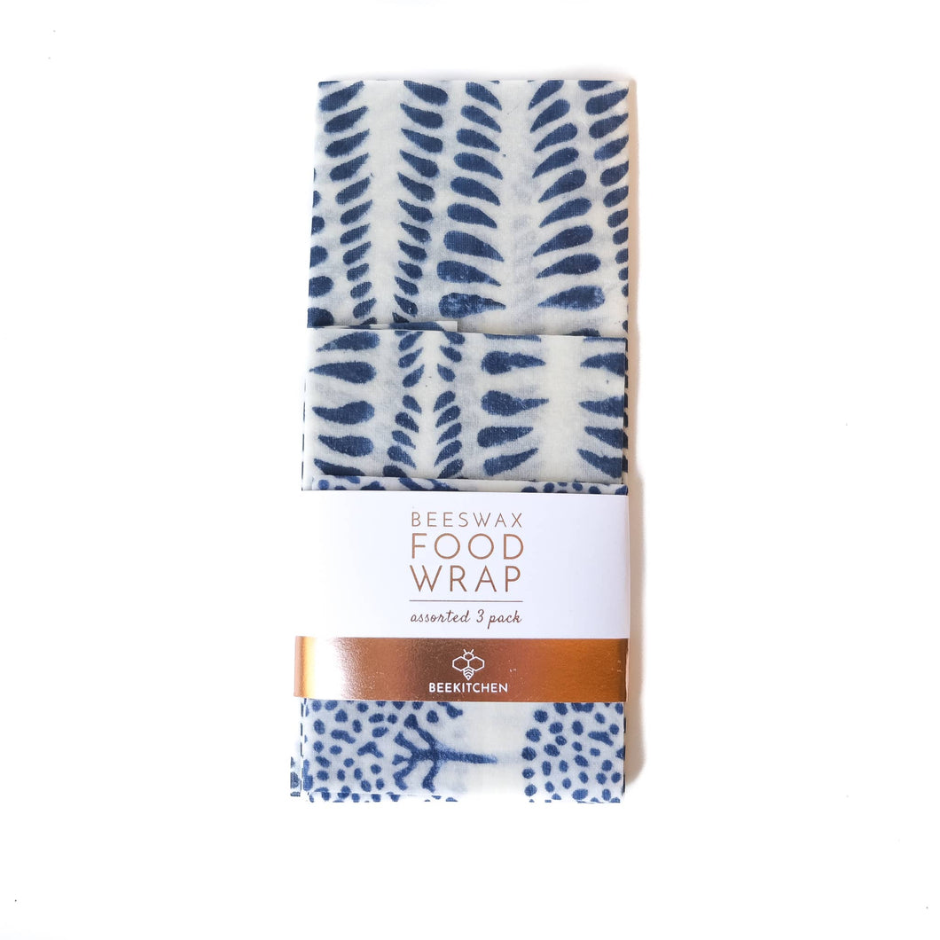 3 Pack - Beeswax Food Wraps Blue and White