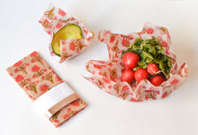Load image into Gallery viewer, 3 Pack - Beeswax Food Wraps Red Floral