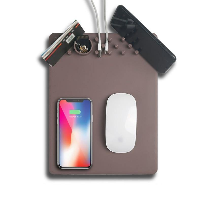 Newest QI Wireless Charging Mousepad Mouse Pad Phone Holder Stand Chargers For iPhone X 8Plus For Samsung Note 8 S8 S7