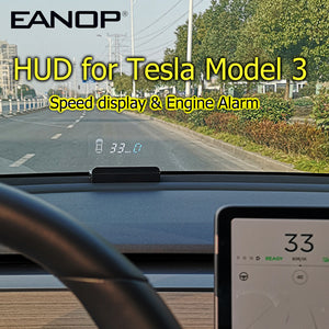 EANOP E100 HUD Speedometer for Tesla Model 3 Model S Windshield ...