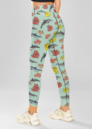 Dolphin Coral Yoga Leggings - All Everything Dolphin