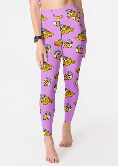 Purple Banana Dolphin Yoga Leggings - All Everything Dolphin