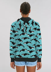 Blue Orca Unisex Zip Hoodie - All Everything Dolphin