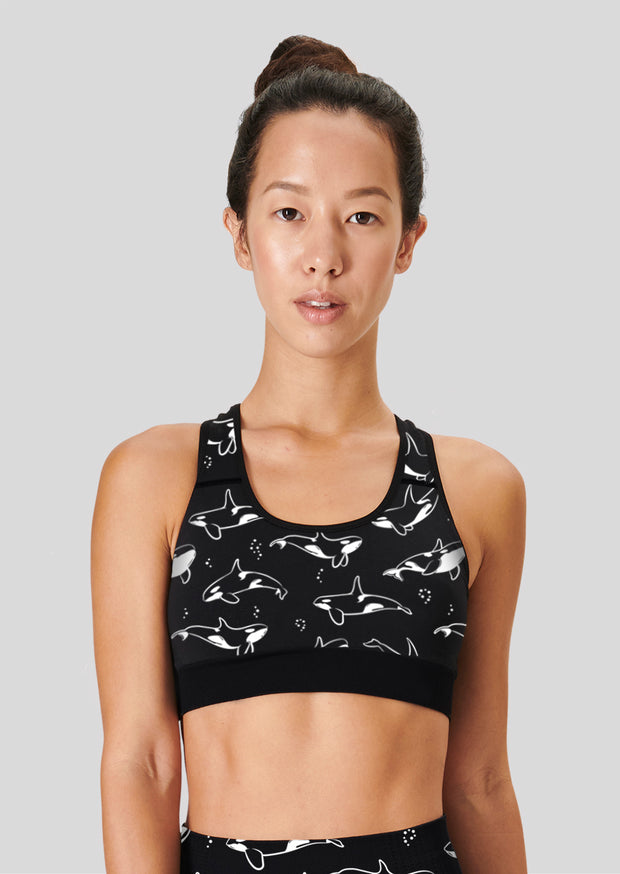 Black And White Orca Sports Bra - All Everything Dolphin