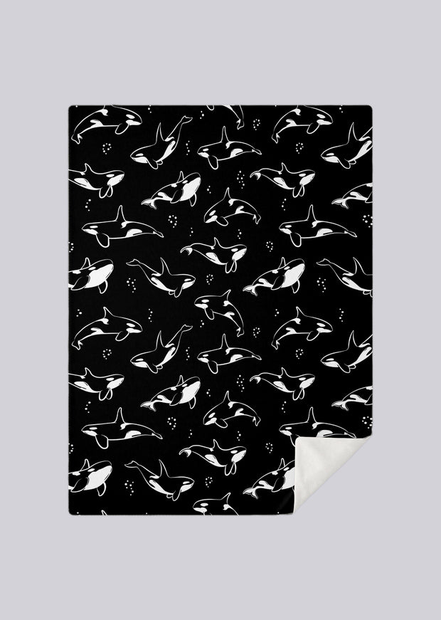Black And White Orca Blanket - All Everything Dolphin