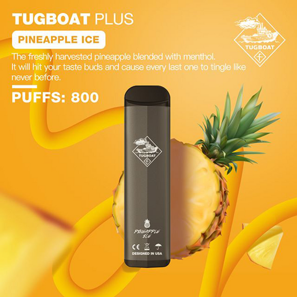 NEW TUGBOAT PLUS -PINAPPLE ICE VAPE VAPING DUABI UAE STOR SHOP VAPORIZER DELIVERY EMIRATES QUALITY DISPOSABLE NEW MADAMVAPOR