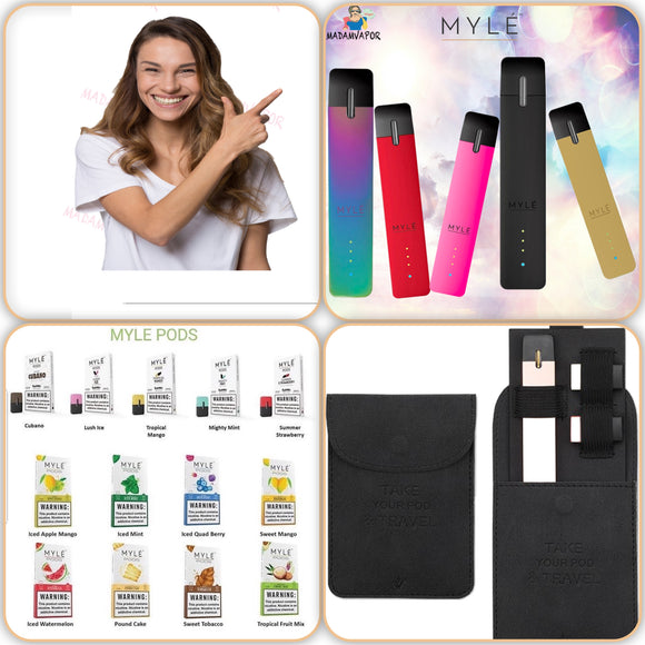 Myle Device + 2 Packs pods + Myle wallet
