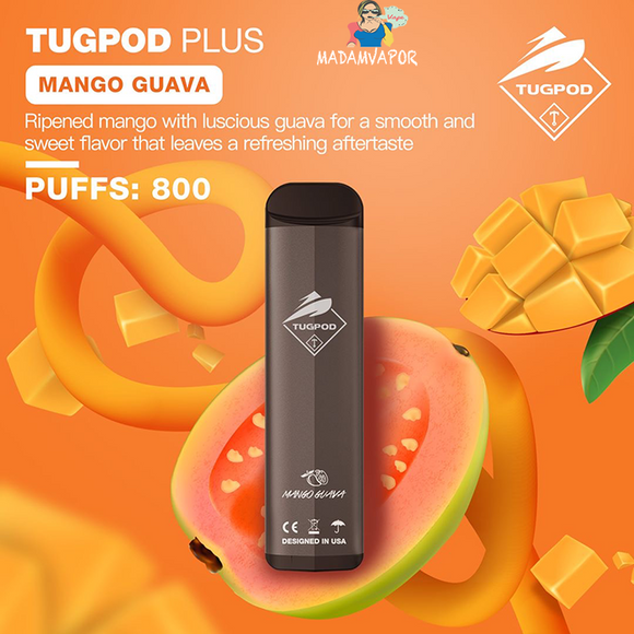 NEW TUGBOAT PLUS -MANGO GUAVA VAPE VAPING DUABI UAE STOR SHOP VAPORIZER DELIVERY EMIRATES QUALITY DISPOSABLE NEW MADAMVAPOR