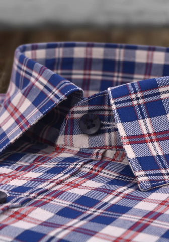 Blue and red check shirt